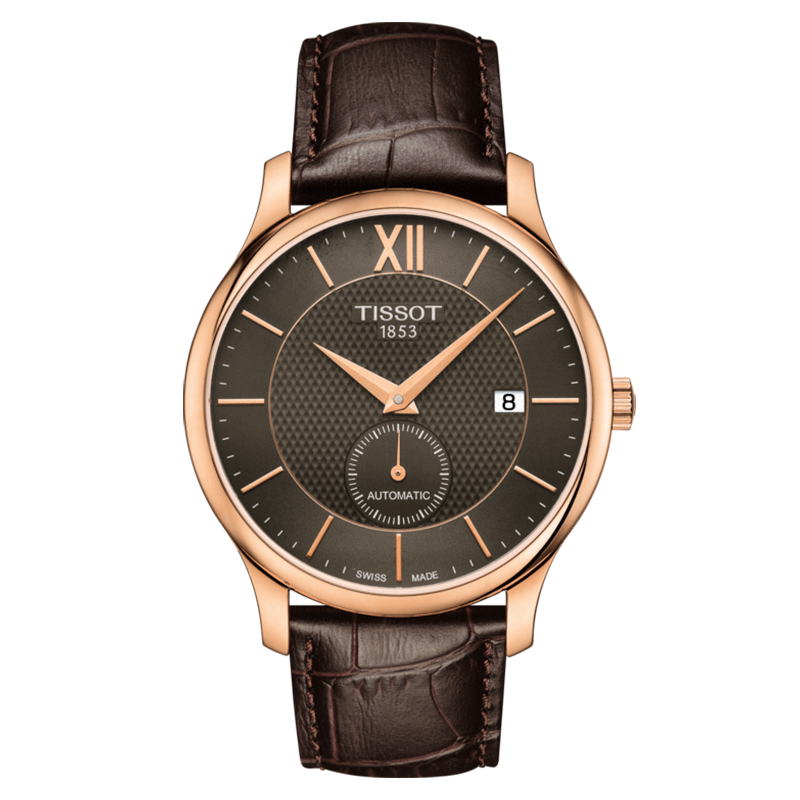 Montre T-Classic Tradition Automatic Small Second cadran anthracite bracelet cuir brun 40 mm