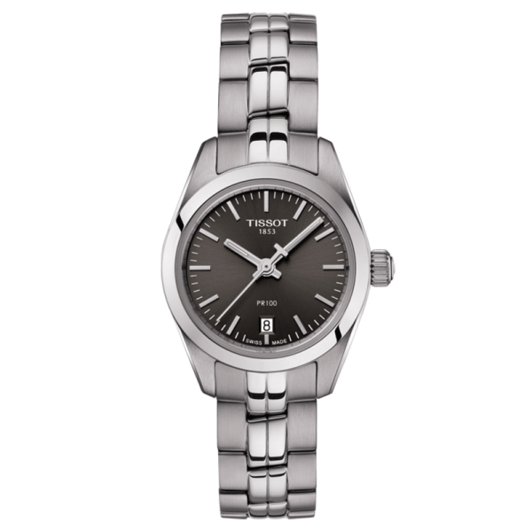Montre Tissot T-Classic PR 100 Small Lady quartz cadran anthracite bracelet acier 25 mm