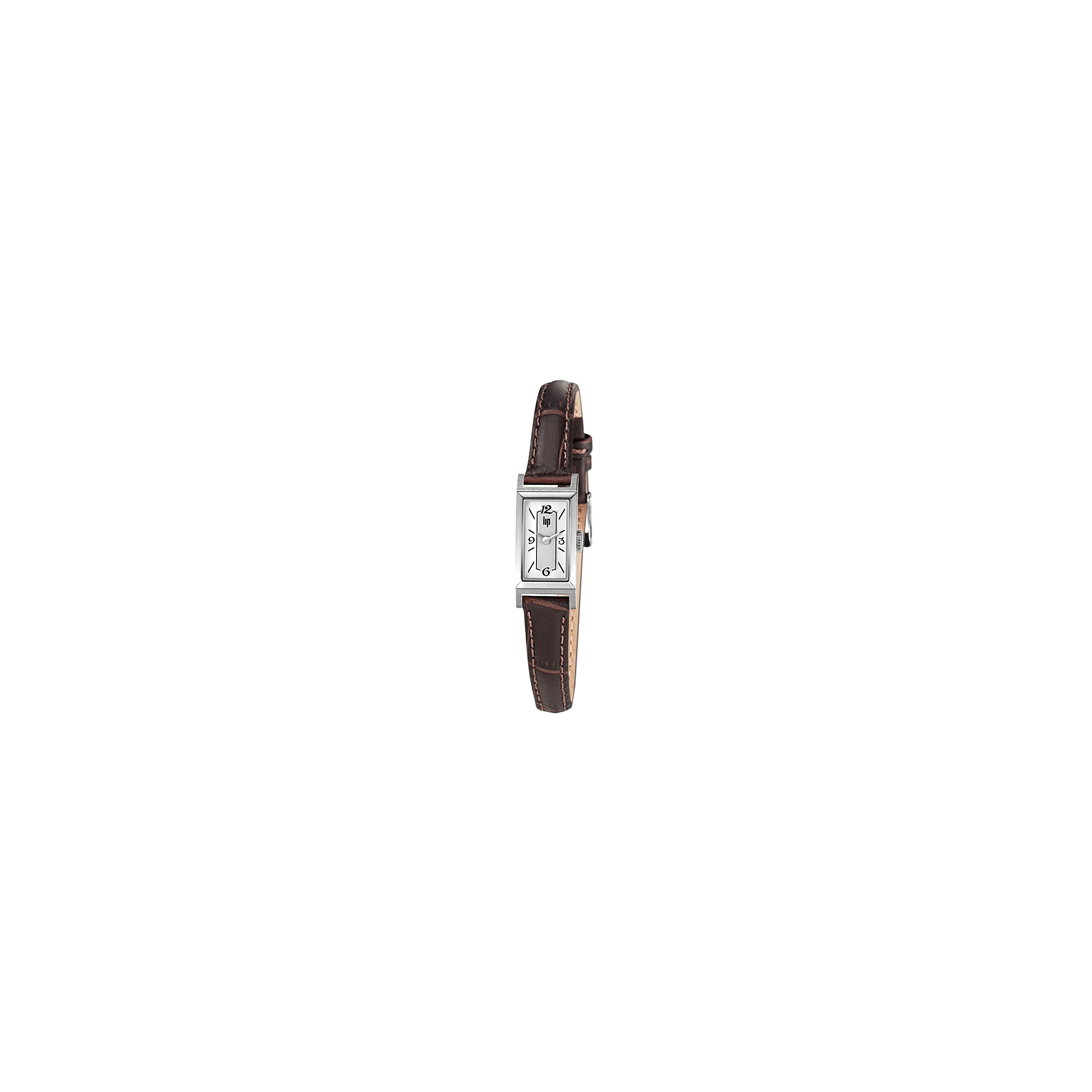 Montre Lip Churchill T13 quartz cadran blanc bracelet cuir marron