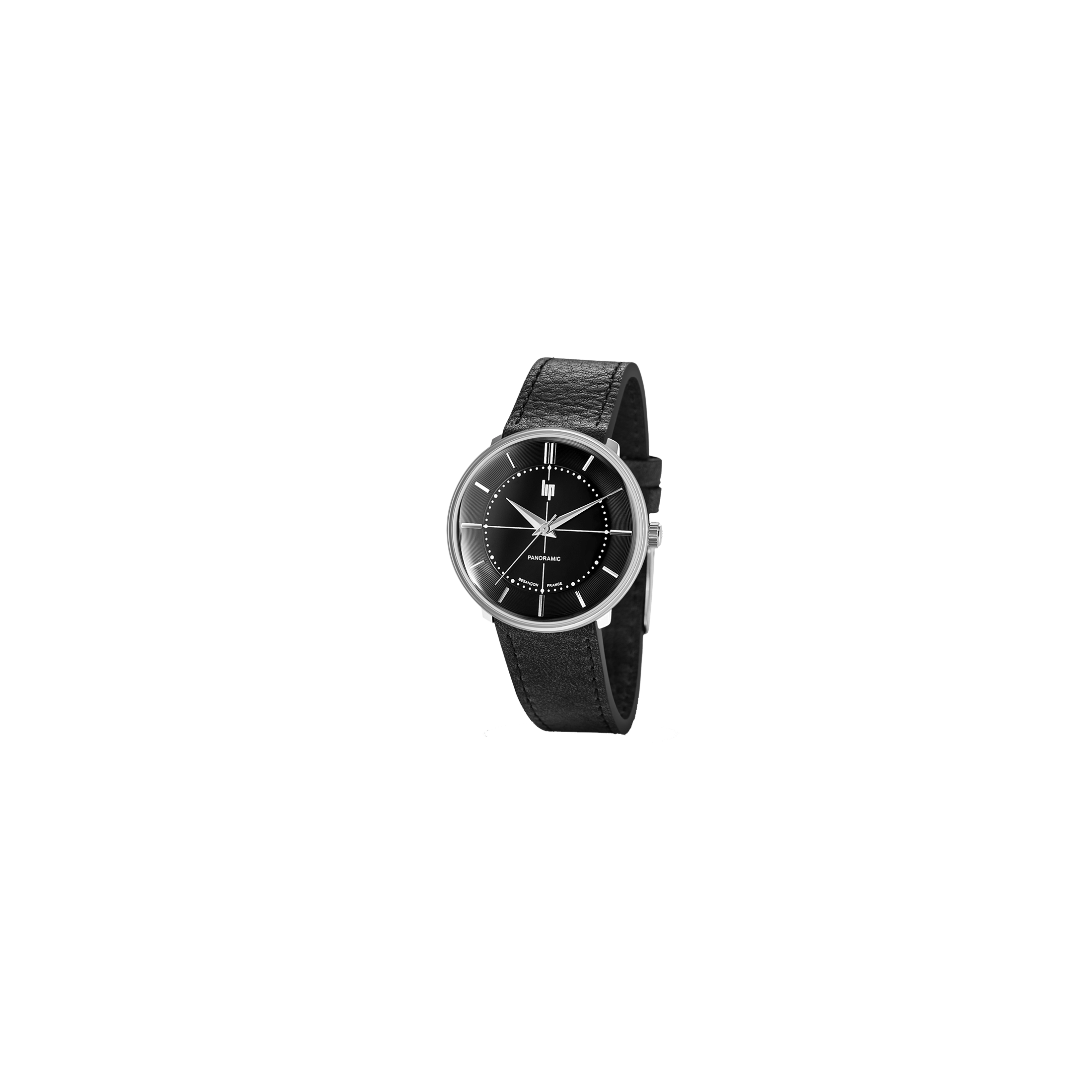 Montre Lip Panoramic quartz cadran noir bracelet cuir noir 34 mm