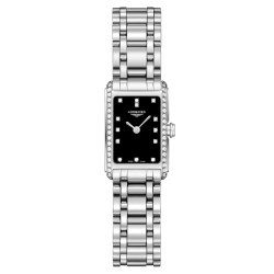 Montre Longines DolceVita quartz cadran noir index diamants lunette sertie