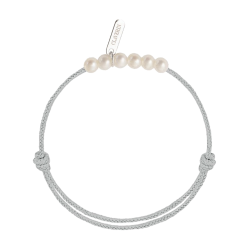 Bracelet Claverin Baby Girls Cords Little Treasures cordon gris perlé et perles blanches - SOLDAT