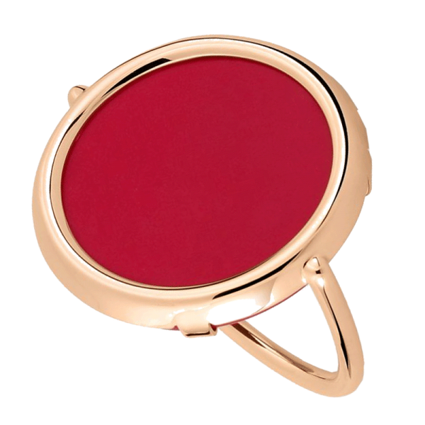 Bague Ginette NY Maria Disc  or rose et corail