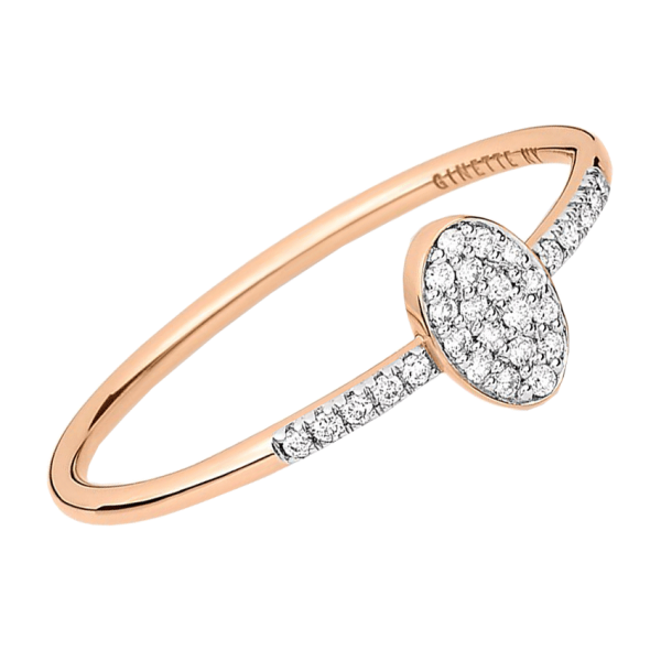Bague Ginette NY Sequin en or rose et diamants