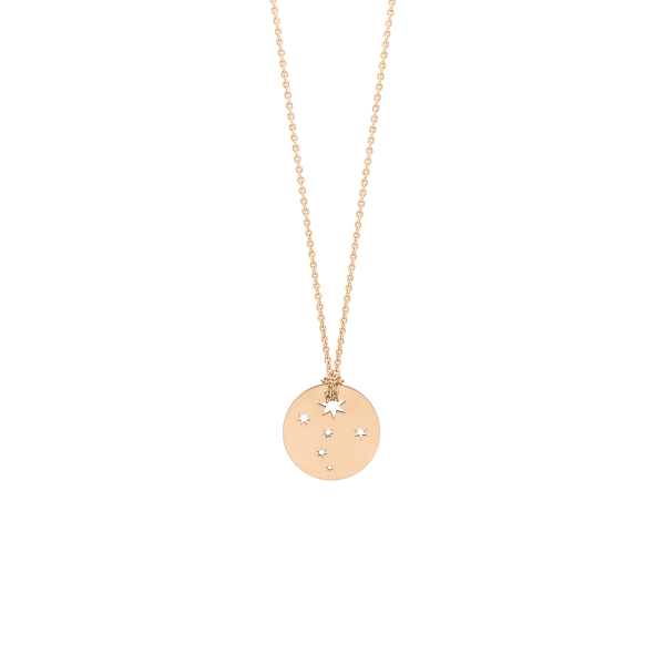 Collier Ginette NY Mini Milky Way Disc on chain en or rose - Soldat