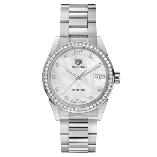 Montre TAG Heuer Carrera Lady quartz cadran nacre blanche index diamants lunette sertie 36 mm - SOLDAT PL