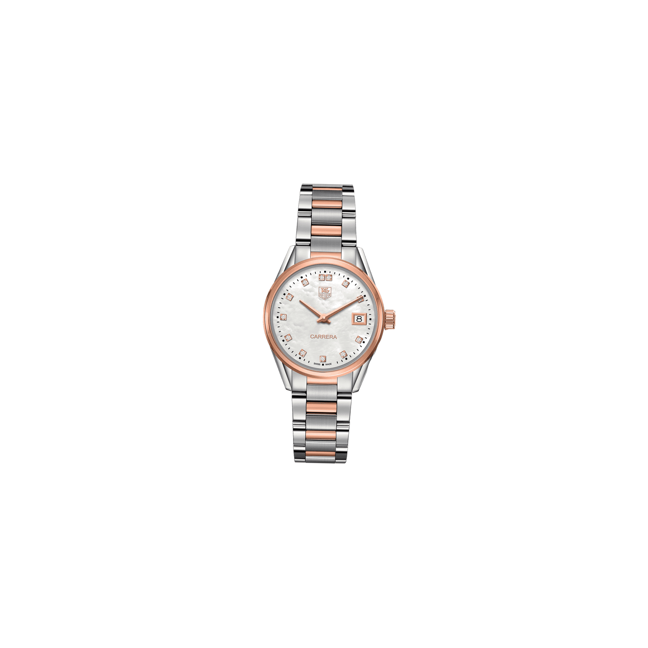 Montre TAG Heuer Carrera Lady quartz cadran nacre blanche index diamants 32 mm - SOLDAT PL