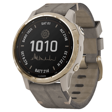 Montre Garmin Fénix 6S Pro Solar Light Gold bracelet daim gris 42 mm