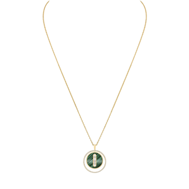 Necklace Messika Lucky Move medium size model in yellow gold malachite and diamonds