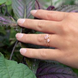 Bague Lepage x Ginette NY Star en or rose et saphir rose