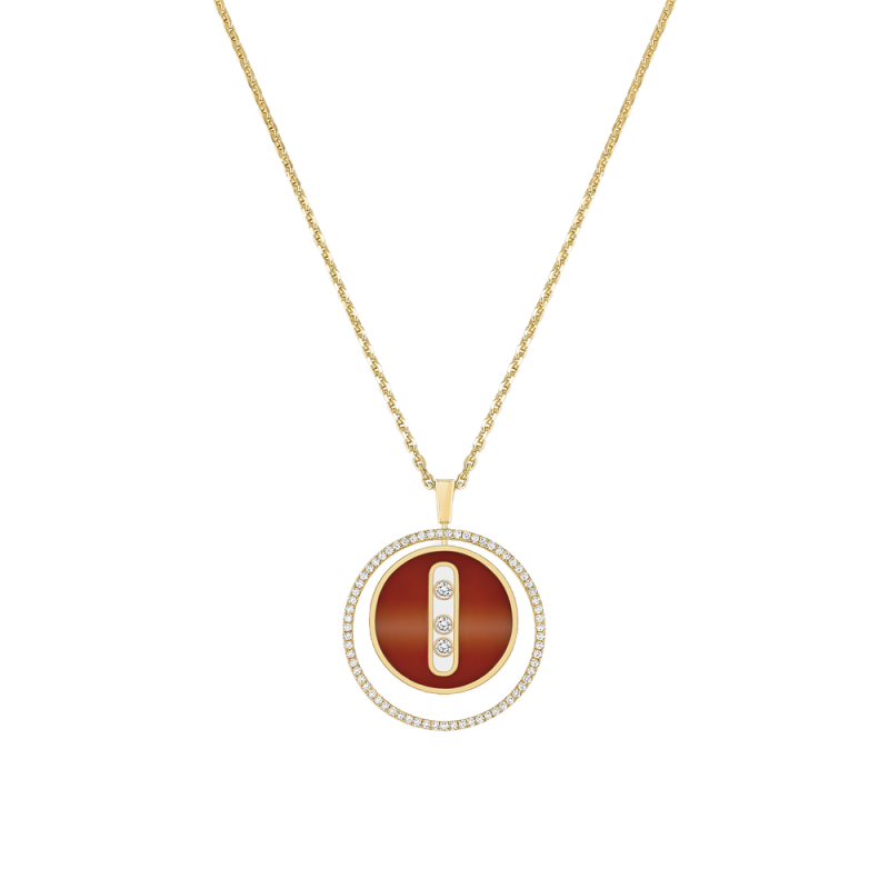 Necklace Messika Lucky Move medium size necklace in carnelian yellow gold and diamonds