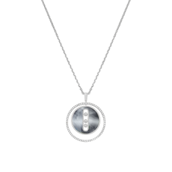 Necklace Messika Lucky Move medium size model in white gold gray mother-of-pearl and diamonds