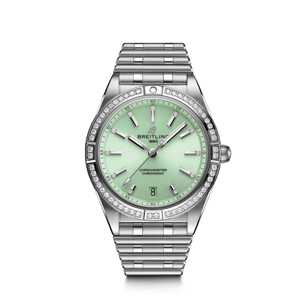 Breitling Chronomat Lady Automatic watch with green dial bezel and diamond indexes 36 mm