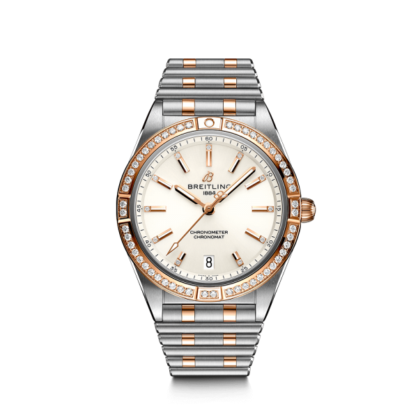 Breitling Chronomat Lady Automatic watch in pink gold and steel white dial diamond bezel and indexes 36 mm