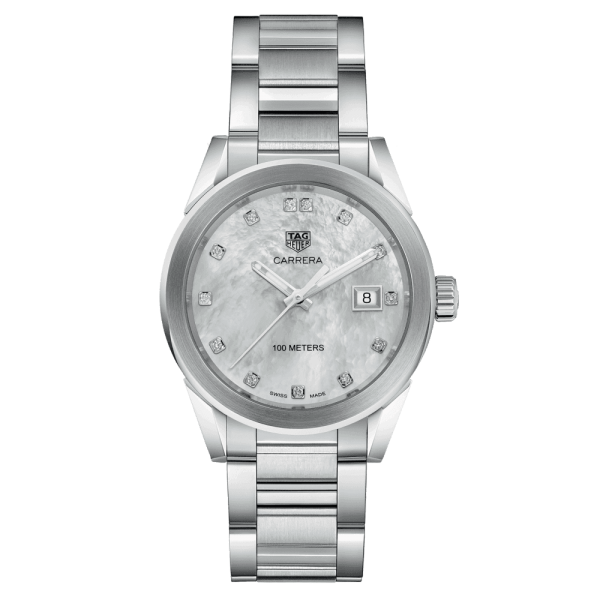 Montre TAG Heuer Carrera Lady quartz acier cadran nacre blanche date index diamants 36 mm - SOLDAT PL