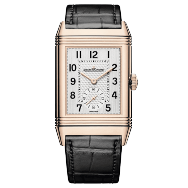 Jaeger LeCoultre Reverso Classic Large Duoface Small Seconds automatic watch pink gold leather strap