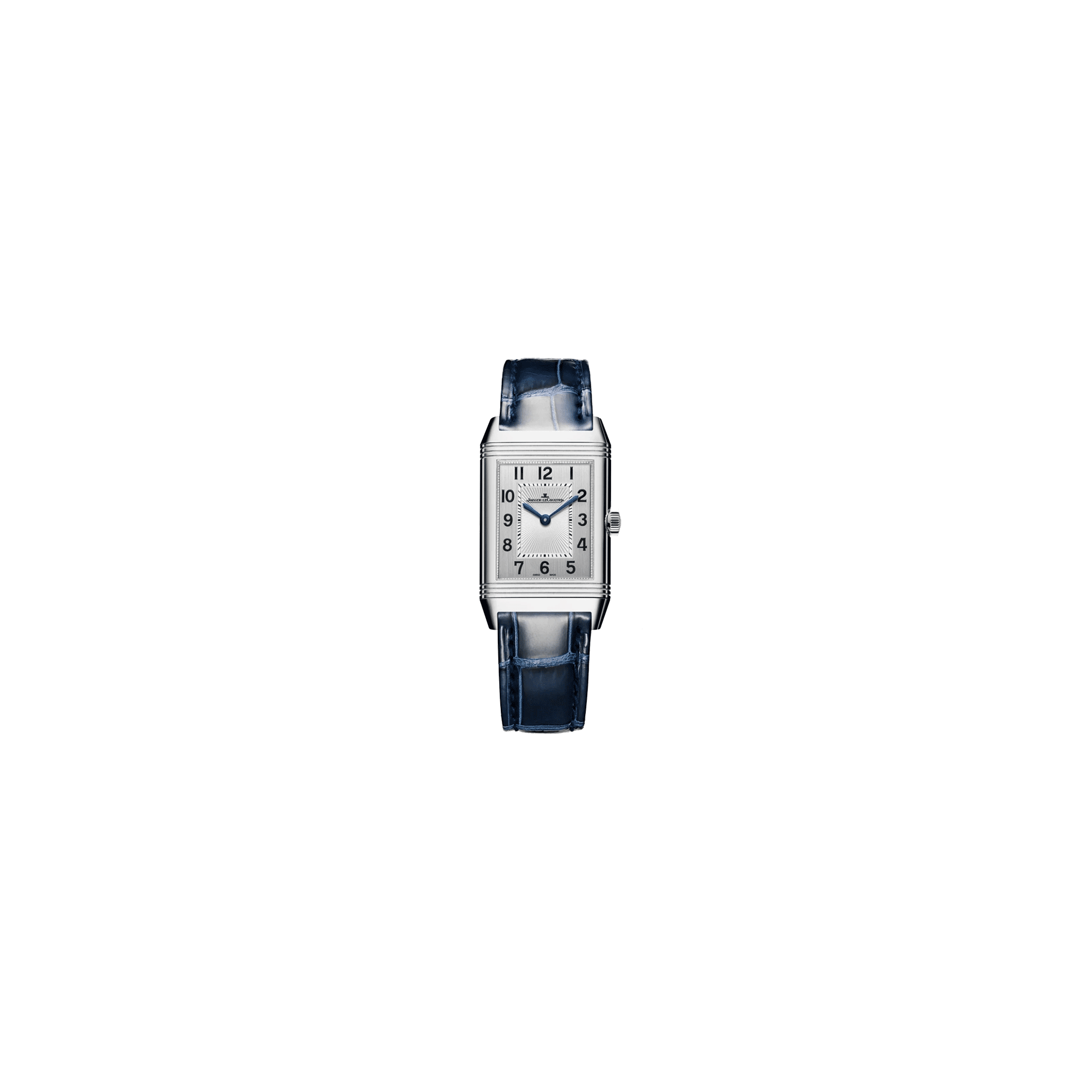 Jaeger LeCoultre Reverso Classic Medium Duetto automatic watch silver dial blue leather strap