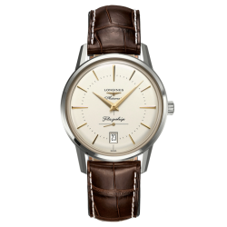 Longines Flagship Heritage automatic watch silver dial brown crocodile strap 38.5 mm L4.795.4.78.2