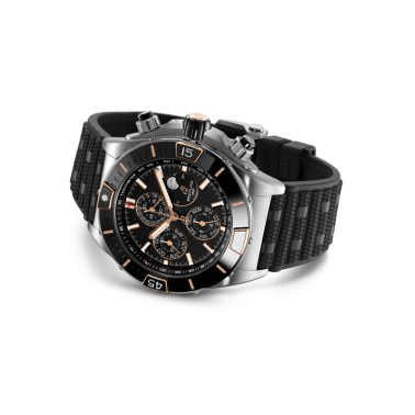 Breitling Super Chronomat 1461 Days pink gold automatic watch black dial black rubber strap 44 mm I19320251B1S1