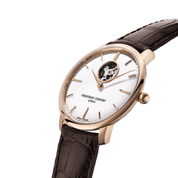 Frédérique Constant Slimline Heart Beat automatic pink gold watch white dial brown leather strap 40 mm FC-312V4S4