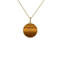 Lepage Colette Lune Perlée Medal in yellow gold and tiger eye