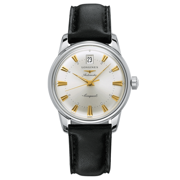 Longines Conquest Heritage automatic watch silver dial black leather strap 35 mm L1.611.4.75.2