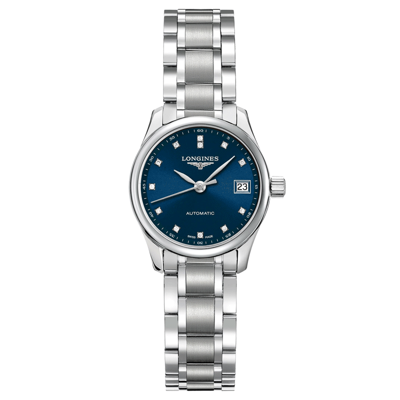 Montre Longines Master Collection automatique cadran bleu nuit index diamants 25,5 mm - SOLDAT PL