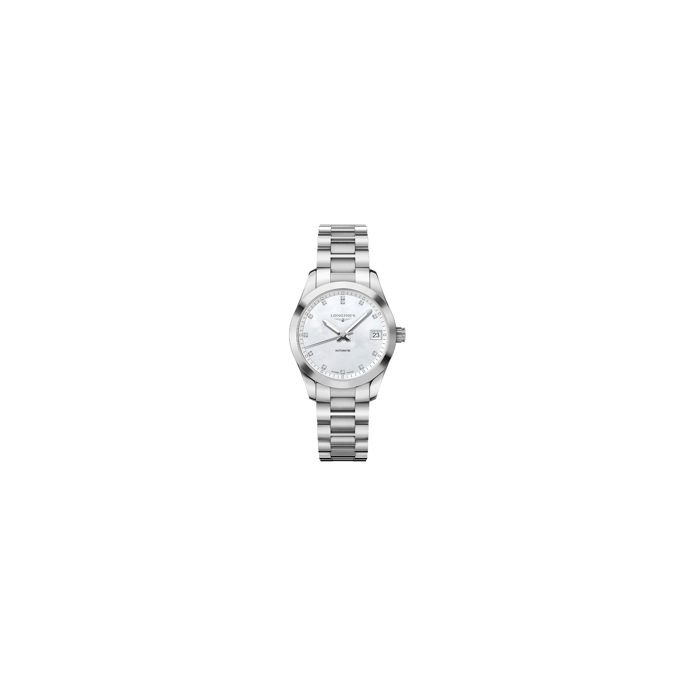 Montre Longines Conquest Classic automatique cadran nacre index diamants bracelet acier 34 mm - SOLDAT PL