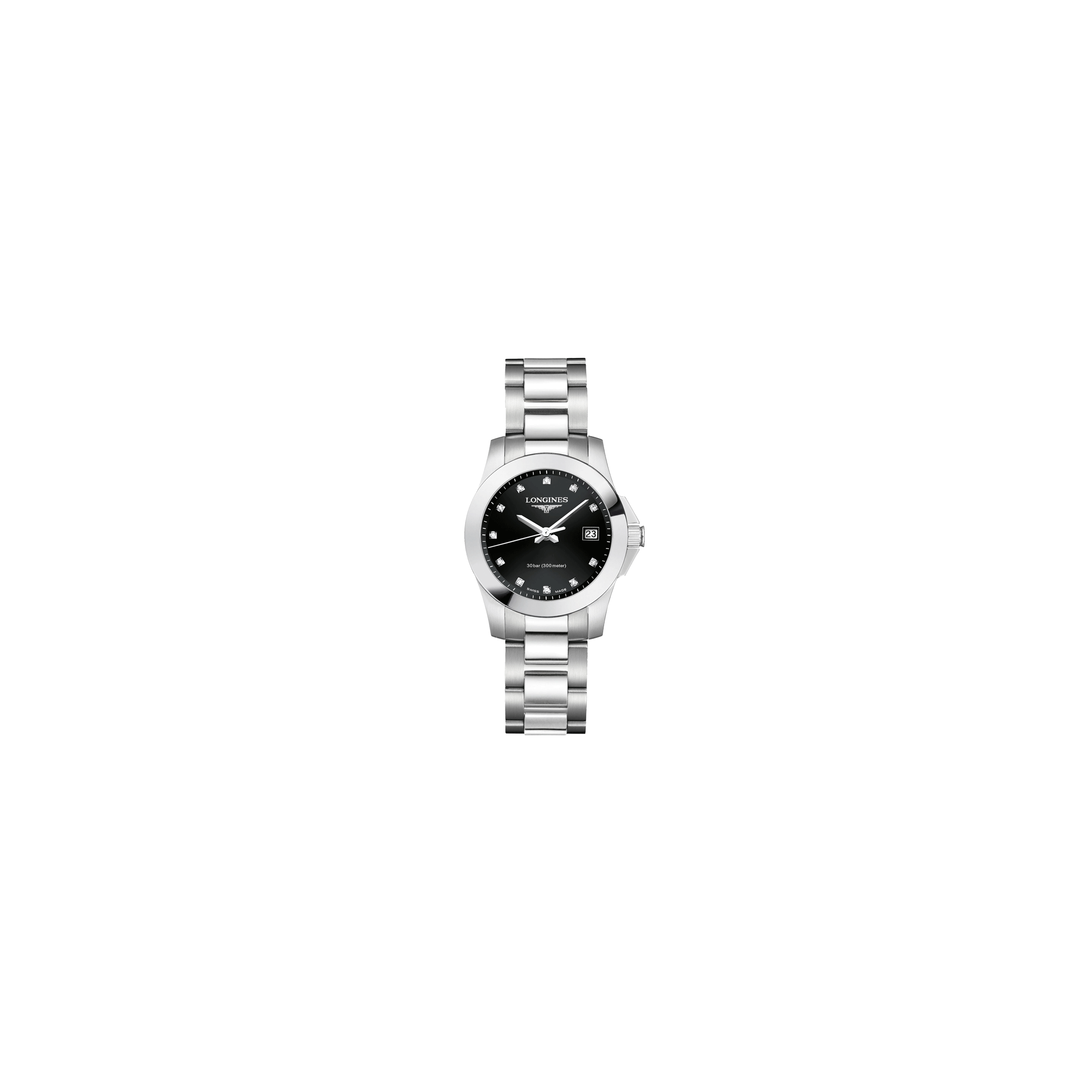 Montre Longines Conquest quartz cadran noir index diamants bracelet acier 29,5 mm - SOLDAT PL