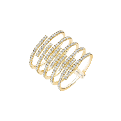 Bague Messika Gatsby 10 rangs en or jaune et diamants - Soldat
