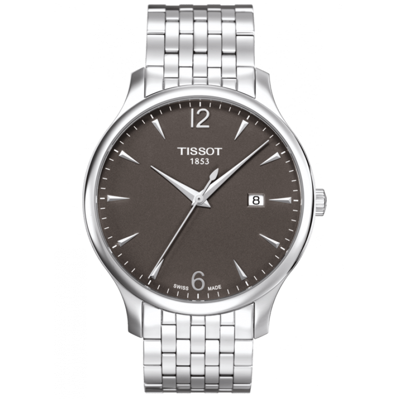 Montre Tissot T-Classic Tradition quartz cadran anthracite bracelet acier 42 mm
