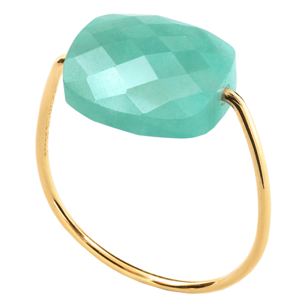 Bague Morganne Bello Friandise amazonite taille coussin et or jaune