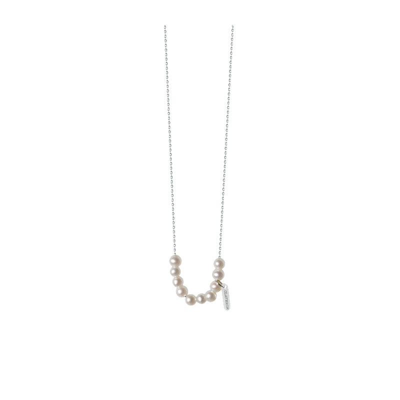 Collier Claverin Rosary en or blanc et perles blanches
