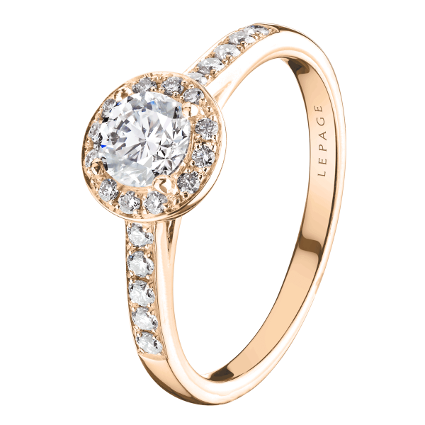 Solitaire Lepage Coquette en or rose diamants