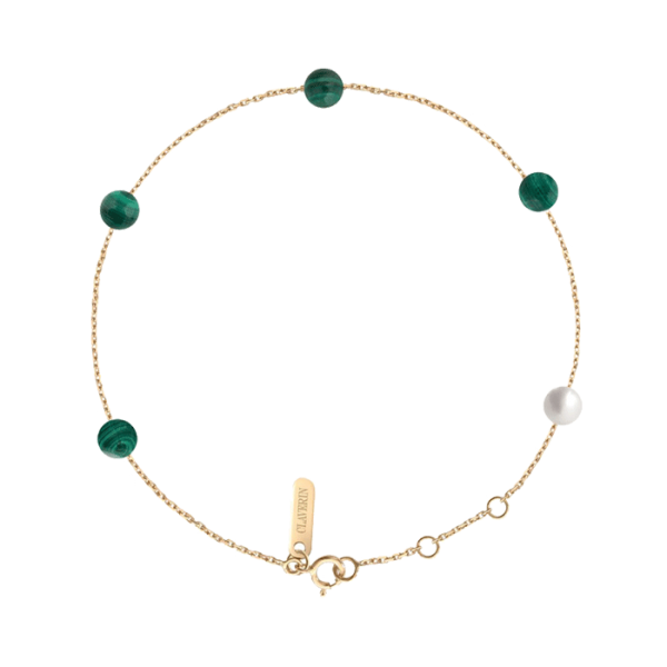 Bracelet Claverin Hope Five en or jaune pierres en malachite et perle blanche